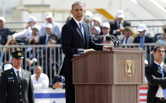 Den Amerikanske præsident Barack Obama taler under en officiel  ceremoni på Ben Gurion International Airport nær Tel Aviv den 20. marts. (Foto af REUTERS / Nir Elias)